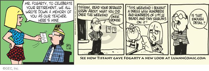 Comic Strip Greg Evans  Luann 2014-05-20 memory