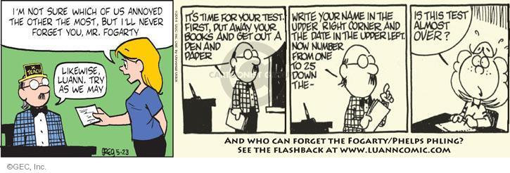 Comic Strip Greg Evans  Luann 2014-05-23 Fogarty