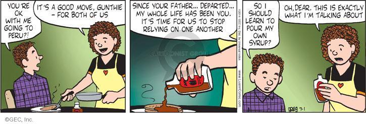 Cartoonist Greg Evans  Luann 2014-07-01 dear