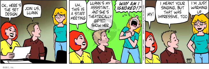 Comic Strip Greg Evans  Luann 2014-07-22 set up