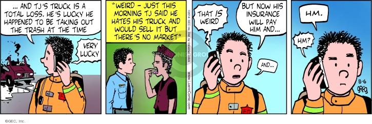 Comic Strip Greg Evans  Luann 2014-08-06 take out trash