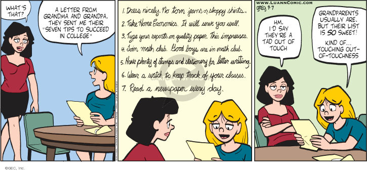 Comic Strip Greg Evans  Luann 2014-09-07 math