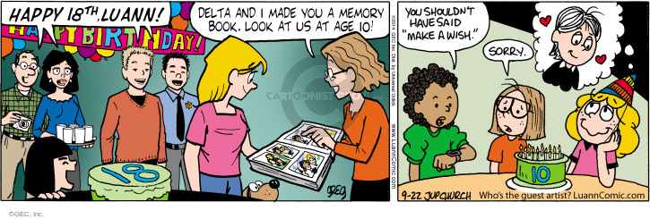 Comic Strip Greg Evans  Luann 2014-09-22 18th birthday