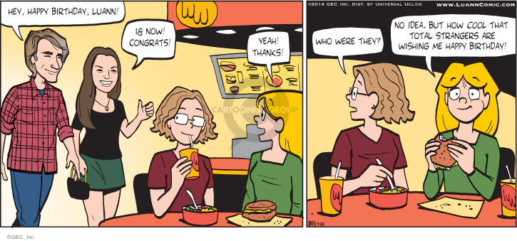 Comic Strip Greg Evans  Luann 2014-09-28 birthday