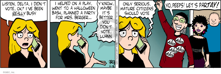 Comic Strip Greg Evans  Luann 2014-11-12 voting rights