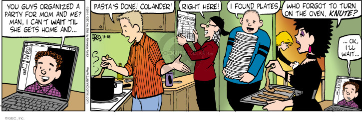 Cartoonist Greg Evans  Luann 2014-11-18 Knute