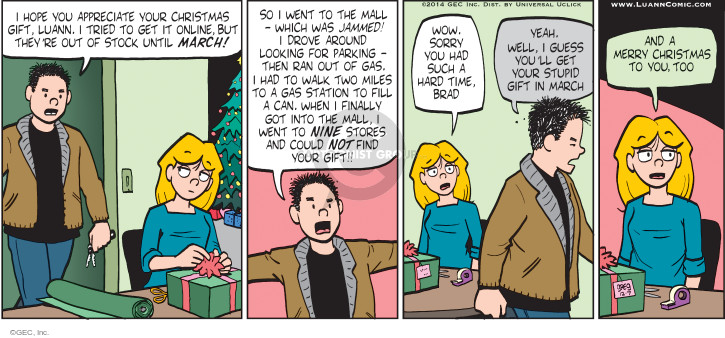 Comic Strip Greg Evans  Luann 2014-12-07 Christmas gift