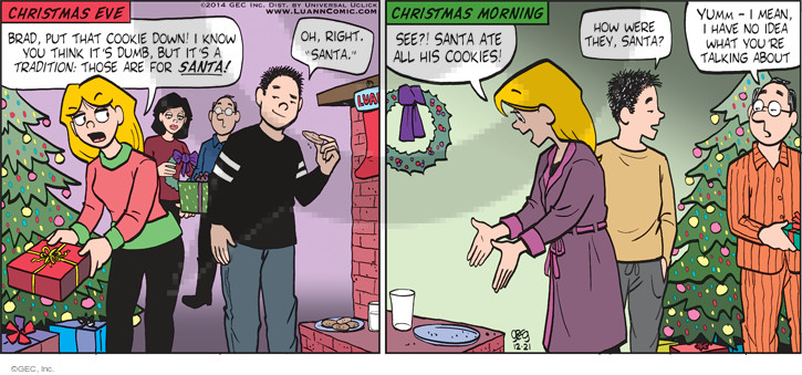 Comic Strip Greg Evans  Luann 2014-12-21 holiday tradition