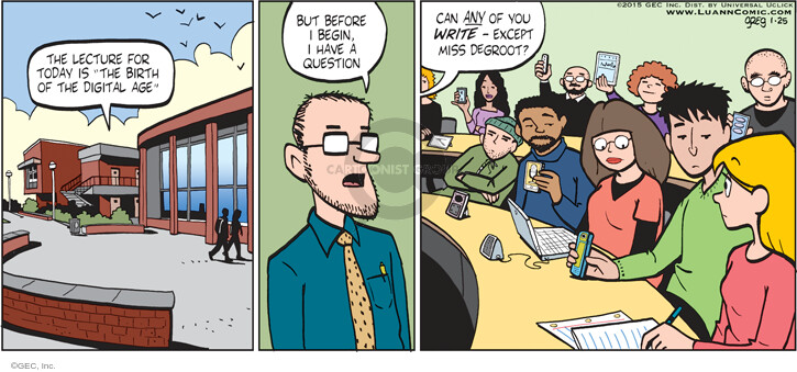 Comic Strip Greg Evans  Luann 2015-01-25 writing
