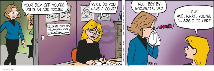 Comic Strip Greg Evans  Luann 2015-03-02 cold