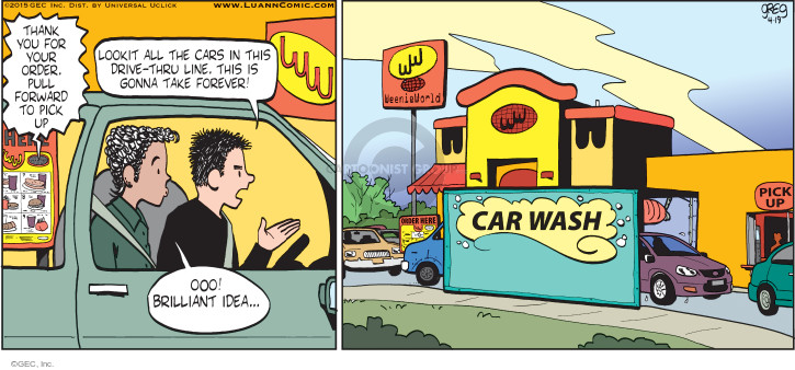Comic Strip Greg Evans  Luann 2015-04-19 dining out