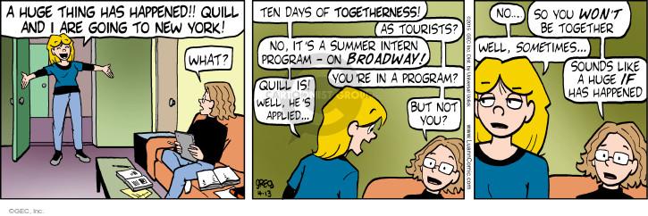 Cartoonist Greg Evans  Luann 2015-04-13 good day