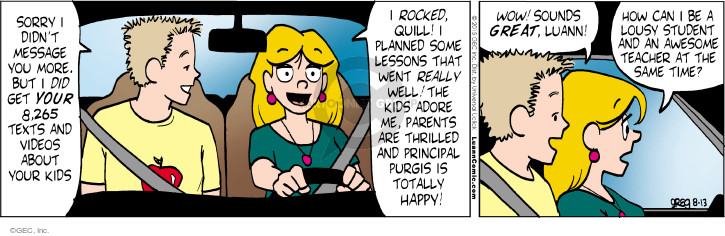 Comic Strip Greg Evans  Luann 2015-08-13 lesson