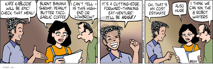Comic Strip Greg Evans  Luann 2015-08-25 restaurant server