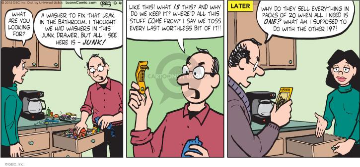 Cartoonist Greg Evans  Luann 2015-10-04 bathroom