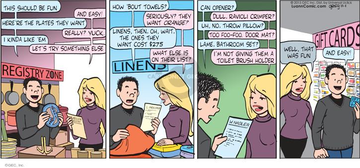 Comic Strip Greg Evans  Luann 2015-11-01 cost