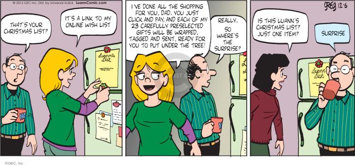 Comic Strip Greg Evans  Luann 2015-12-06 careful
