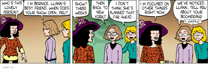 Cartoonist Greg Evans  Luann 2015-11-25 notice
