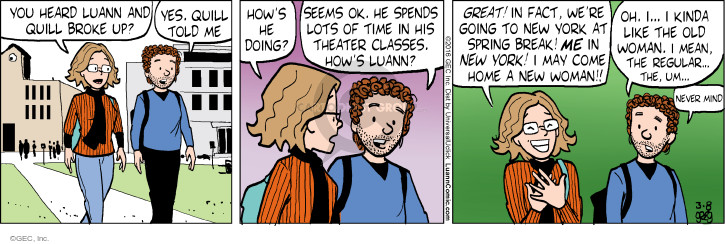 Cartoonist Greg Evans  Luann 2016-03-08 kinda