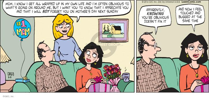 Cartoonist Greg Evans  Luann 2016-05-08 apparently