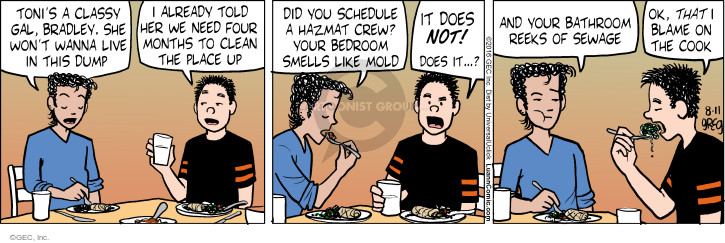 Cartoonist Greg Evans  Luann 2016-08-11 cook