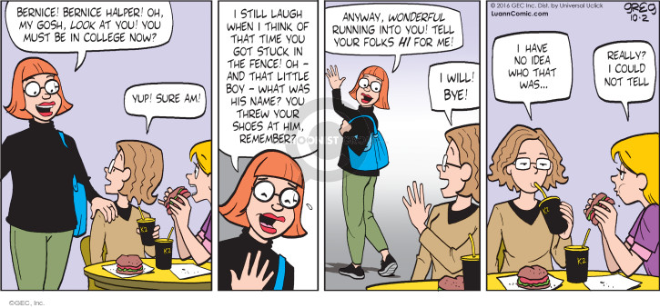 Comic Strip Greg Evans  Luann 2016-10-02 remember