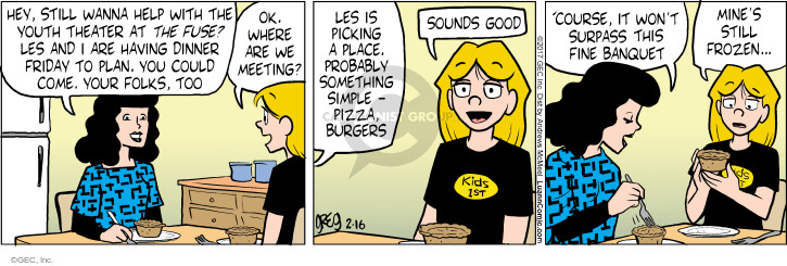 Comic Strip Greg Evans  Luann 2017-02-16 dinner