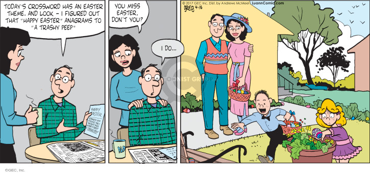 Cartoonist Greg Evans  Luann 2017-04-16 holiday