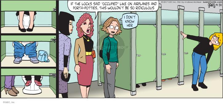 Cartoonist Greg Evans  Luann 2017-04-30 bathroom