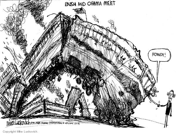 Cartoonist Mike Luckovich  Mike Luckovich's Editorial Cartoons 2008-11-11 George W. Bush