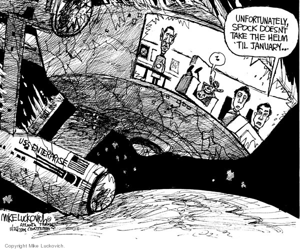 Cartoonist Mike Luckovich  Mike Luckovich's Editorial Cartoons 2008-11-26 George W. Bush