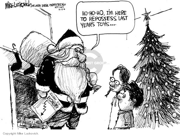 Cartoonist Mike Luckovich  Mike Luckovich's Editorial Cartoons 2008-12-02 economy