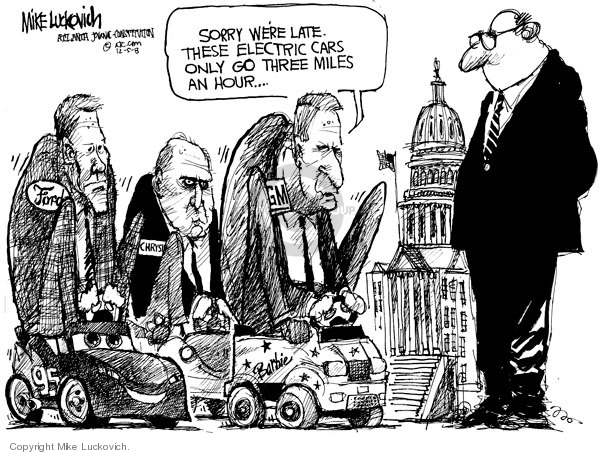 Mike Luckovich  Mike Luckovich's Editorial Cartoons 2008-12-05 automotive industry bailout