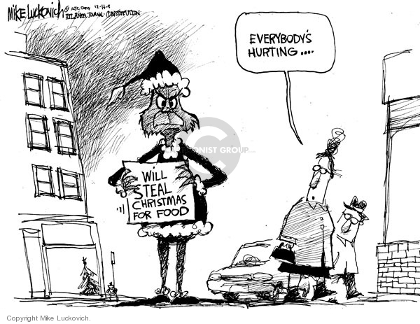 Cartoonist Mike Luckovich  Mike Luckovich's Editorial Cartoons 2008-12-14 recession