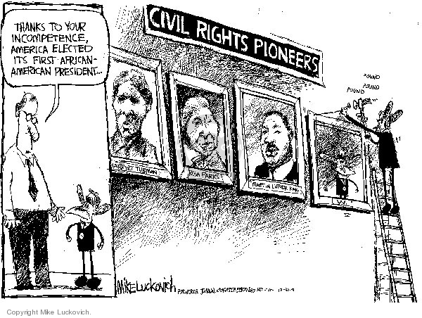 Cartoonist Mike Luckovich  Mike Luckovich's Editorial Cartoons 2008-12-30 Martin Luther King Jr.
