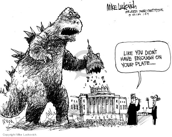 Cartoonist Mike Luckovich  Mike Luckovich's Editorial Cartoons 2009-01-08 economy