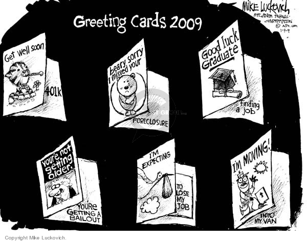 Cartoonist Mike Luckovich  Mike Luckovich's Editorial Cartoons 2009-01-09 economy
