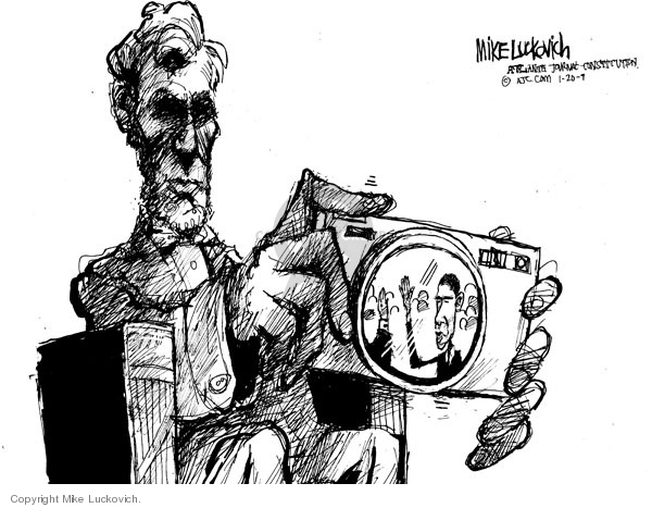 Cartoonist Mike Luckovich  Mike Luckovich's Editorial Cartoons 2009-01-19 Abraham Lincoln