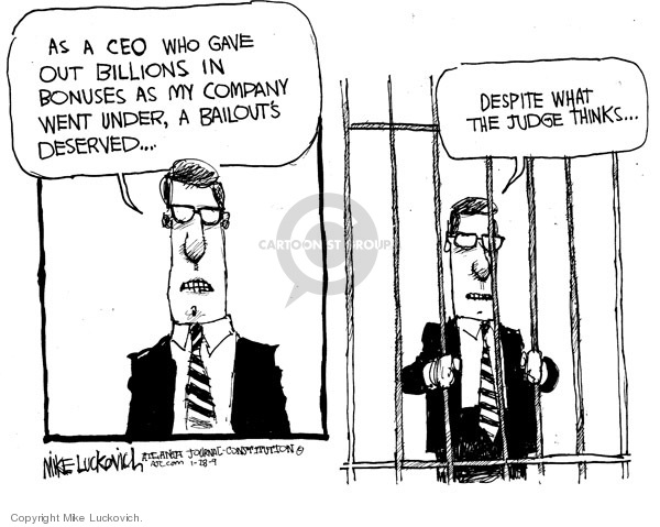 Cartoonist Mike Luckovich  Mike Luckovich's Editorial Cartoons 2009-01-28 jail