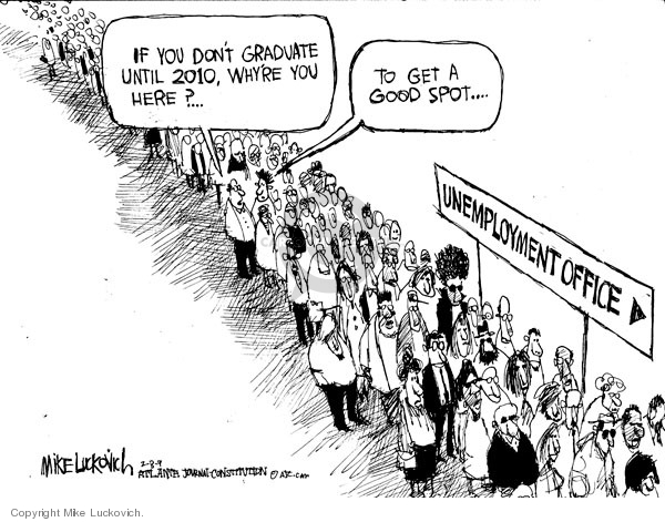 Cartoonist Mike Luckovich  Mike Luckovich's Editorial Cartoons 2009-02-06 downsize