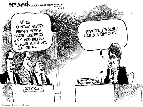 Cartoonist Mike Luckovich  Mike Luckovich's Editorial Cartoons 2009-02-17 economy