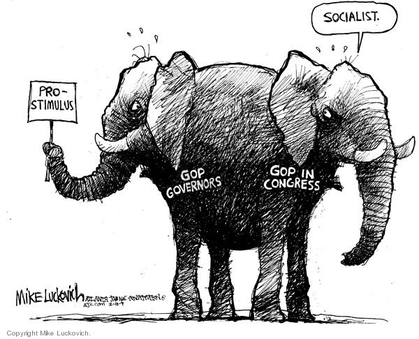 Mike Luckovich  Mike Luckovich's Editorial Cartoons 2009-02-18 republican politician