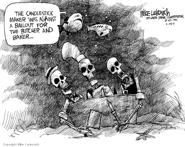 Cartoonist Mike Luckovich  Mike Luckovich's Editorial Cartoons 2009-02-24 business economy