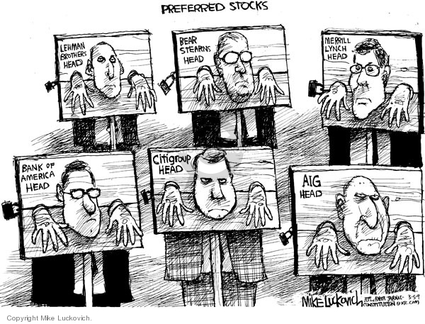 Cartoonist Mike Luckovich  Mike Luckovich's Editorial Cartoons 2009-03-05 finance investment