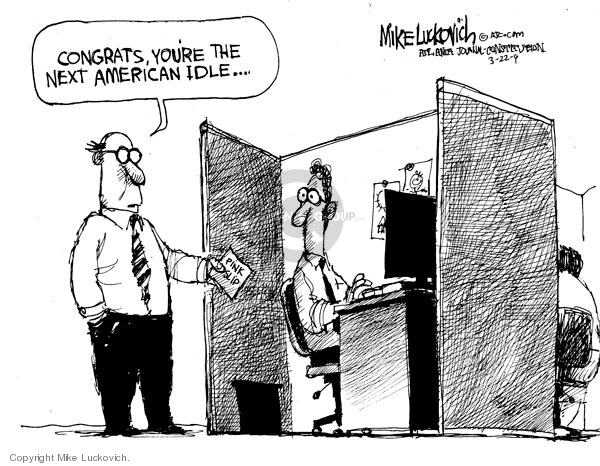 Cartoonist Mike Luckovich  Mike Luckovich's Editorial Cartoons 2009-03-20 downsize