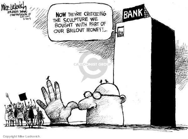 Cartoonist Mike Luckovich  Mike Luckovich's Editorial Cartoons 2009-03-24 bank