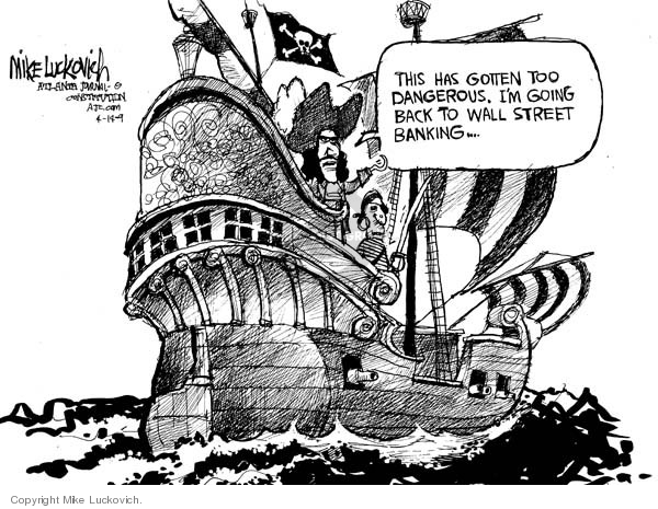 Cartoonist Mike Luckovich  Mike Luckovich's Editorial Cartoons 2009-04-14 bank