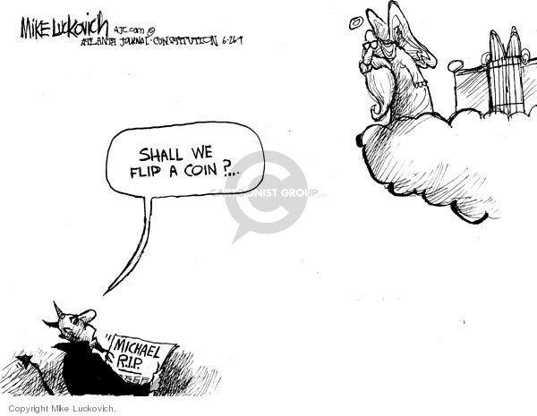 Mike Luckovich  Mike Luckovich's Editorial Cartoons 2009-06-26 death