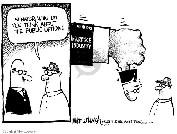 Cartoonist Mike Luckovich  Mike Luckovich's Editorial Cartoons 2009-08-28 health bill