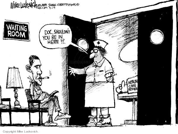 Cartoonist Mike Luckovich  Mike Luckovich's Editorial Cartoons 2009-09-01 health bill